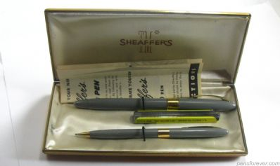 SNORKEL  SET FOUNTAIN PEN AND PENCIL IN GRAY - SOLID GOLD NIB