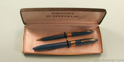 SNORKEL  SET FOUNTAIN PEN AND PENCIL IN BLUE - SOLID GOLD NIB