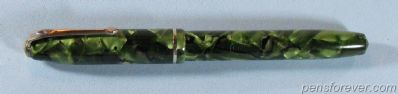 CONWAY STEWART #75 IN GREEN / BLACK MARBLE - GOLD FILLED TRIM