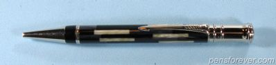 DUOFOLD CENTENNIAL BALLPOINT BLACK AND PEARL ( T )  - THIRD MODEL