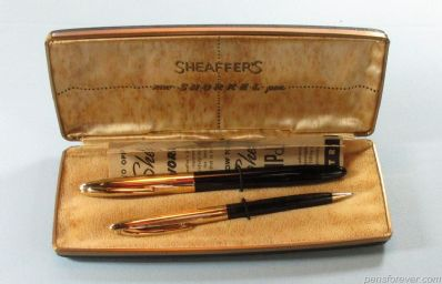 SHEAFFER SNORKEL CREST FOUNTAIN PEN AND PENCIL  IN BLACK- GOLD NIB