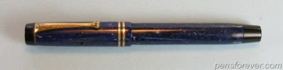 PARKER DUOFOLD SPECIAL LAPIS LAZULI WHITE ON BLUE STREAMLINED - 2 ANEIS - CANADA - EXTRA FINE